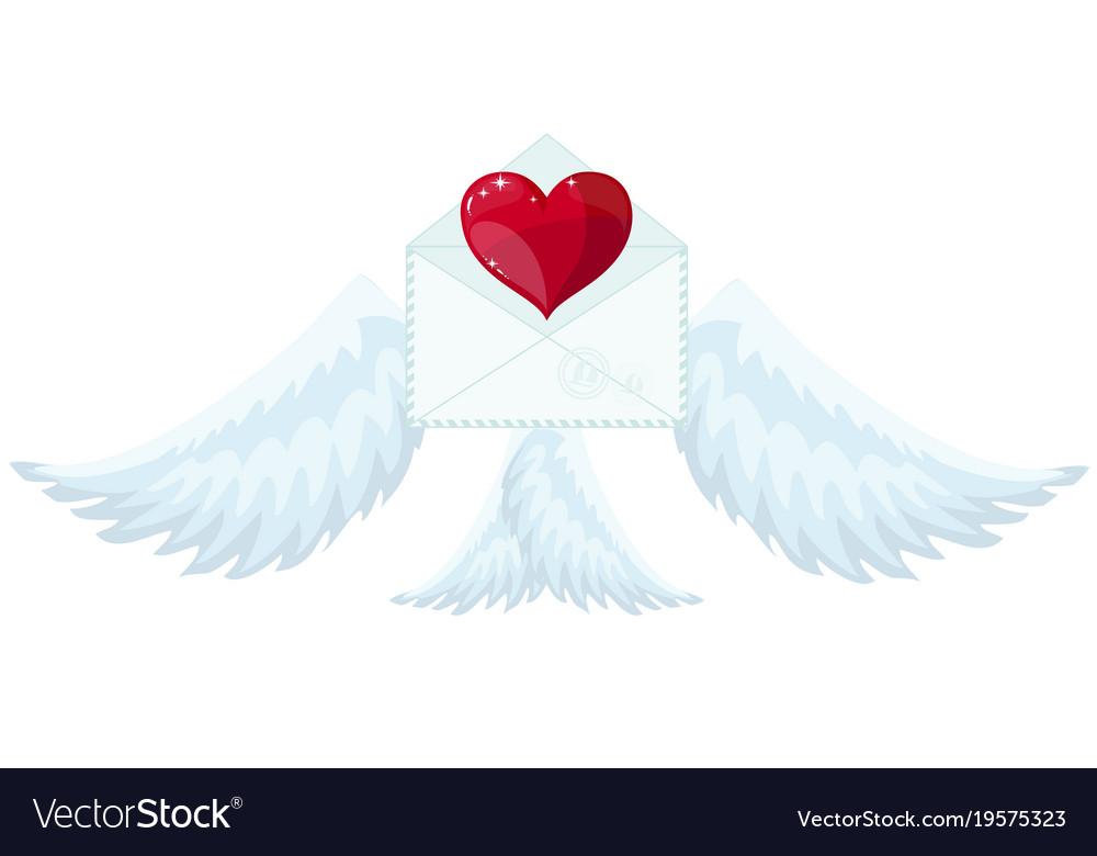 Envelope with wings like cupid sending love and