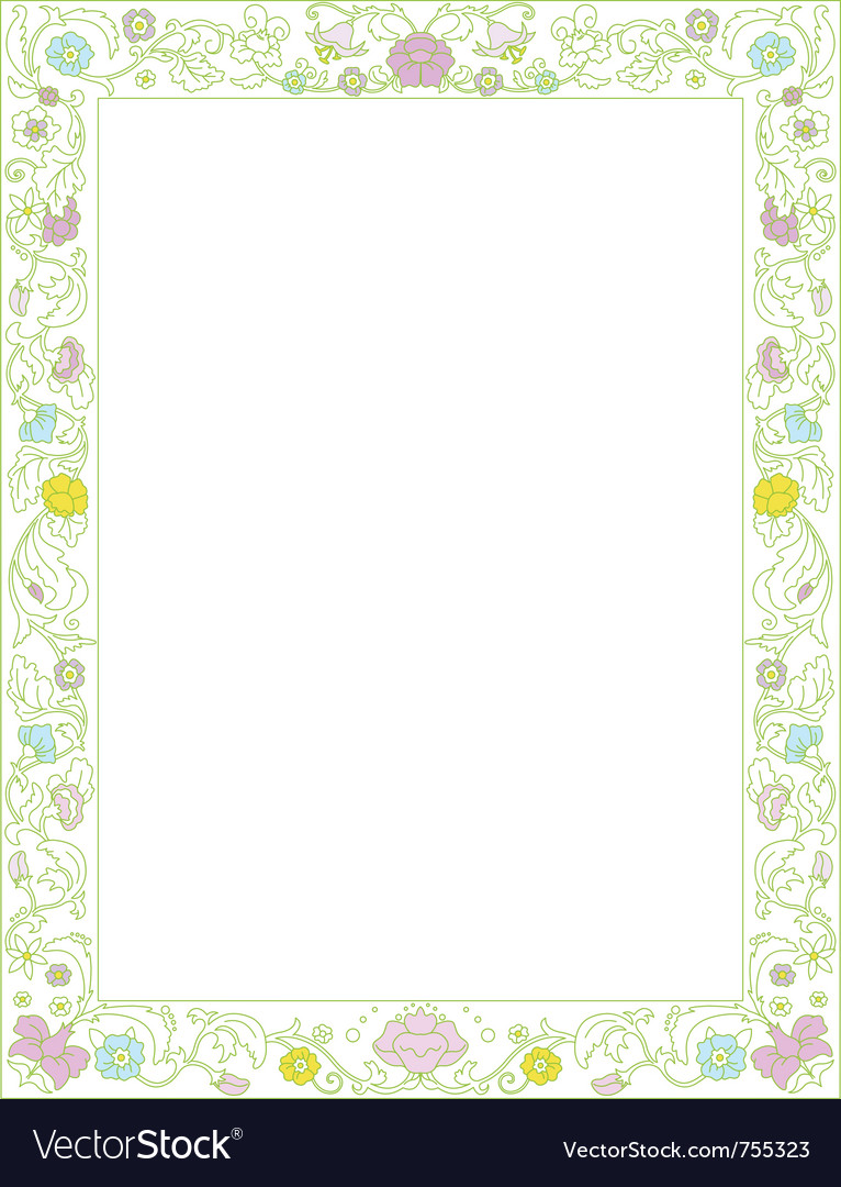 Green spring frame with flowers vector image