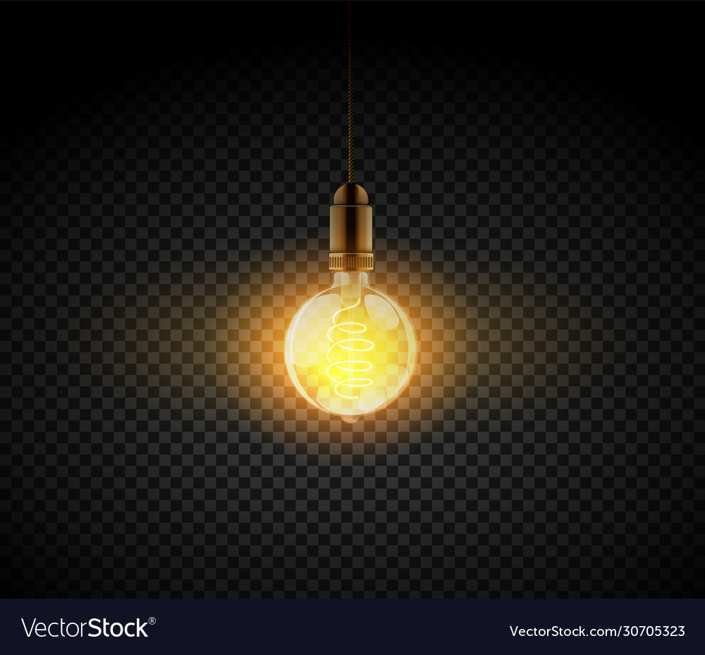 Realistic light bulb electric retro lamp vector
