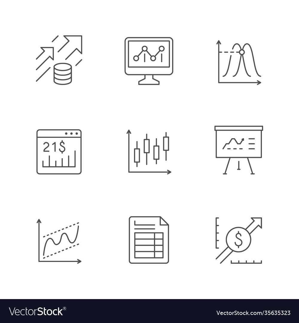 Set line icons financial analytics