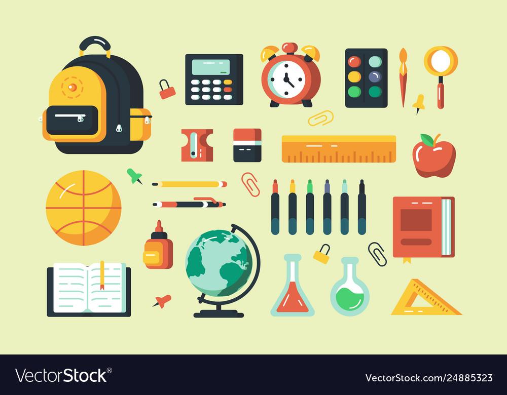 Set school supplies