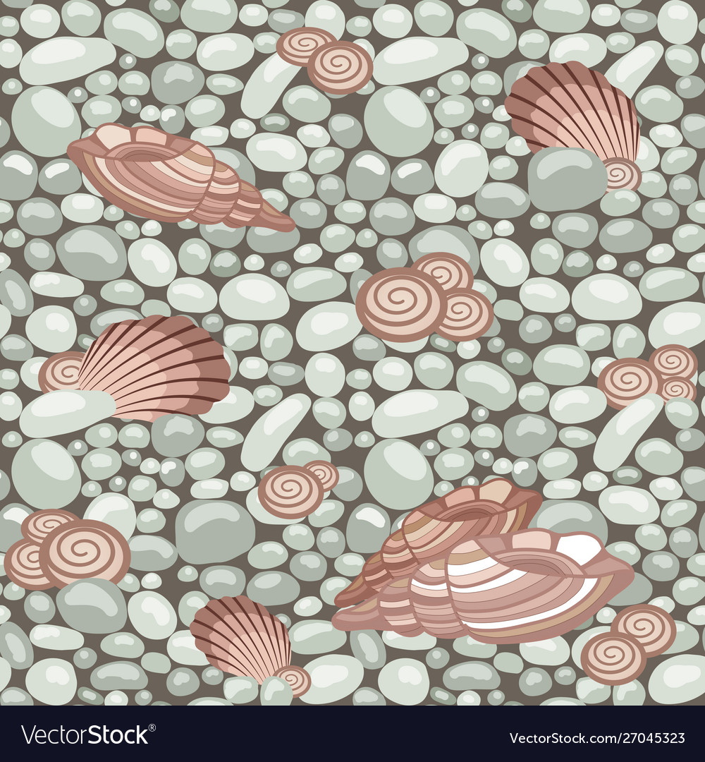 Stone texture with seashells seamless pattern