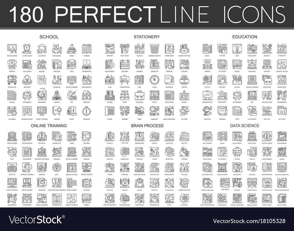 180 outline mini concept icons symbols of school