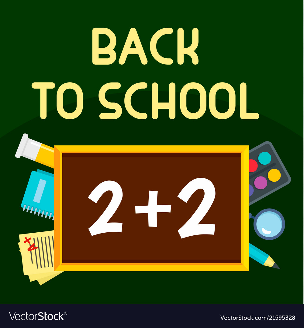 Back to school time background flat style