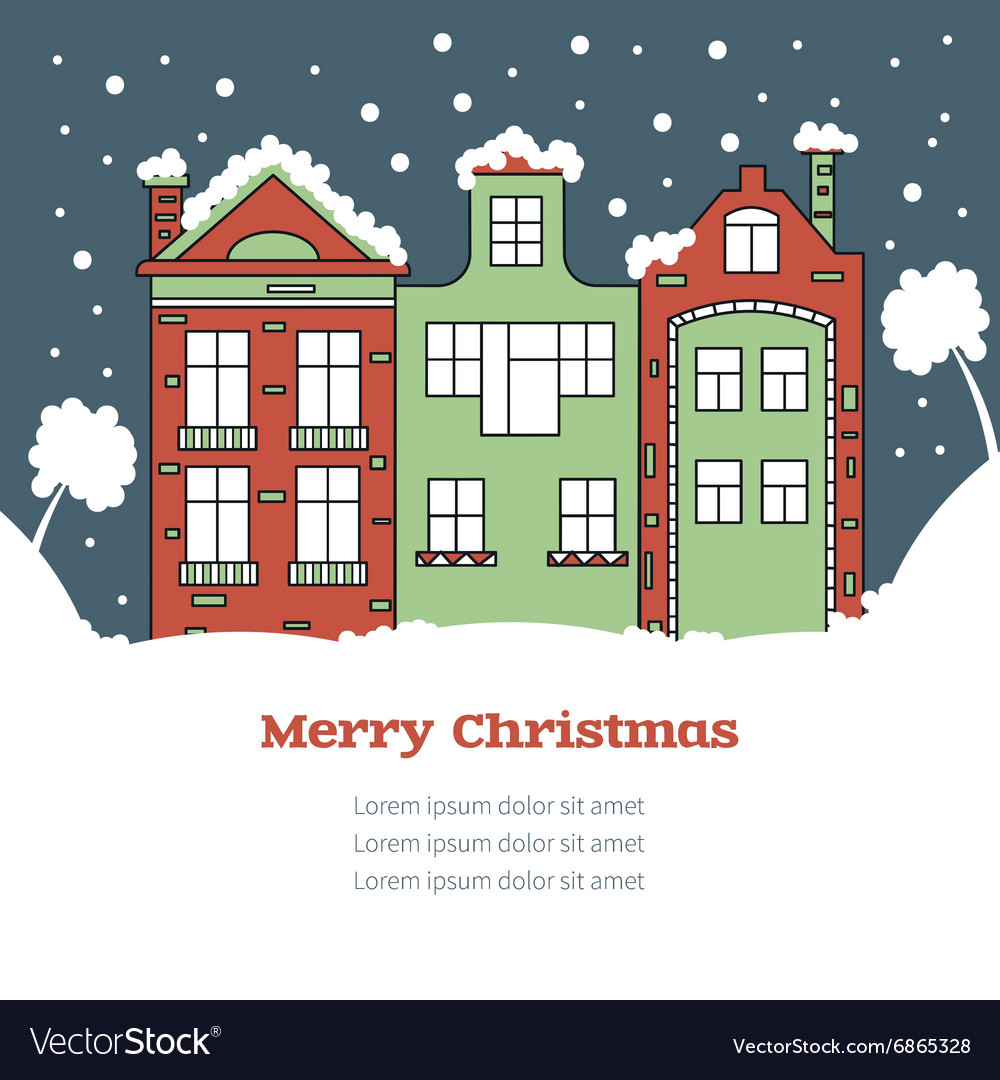 Christmas Card With House Royalty Free Vector Image