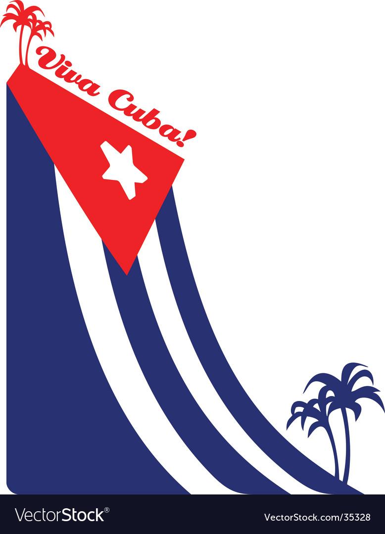 Cuba flag and palm illustration