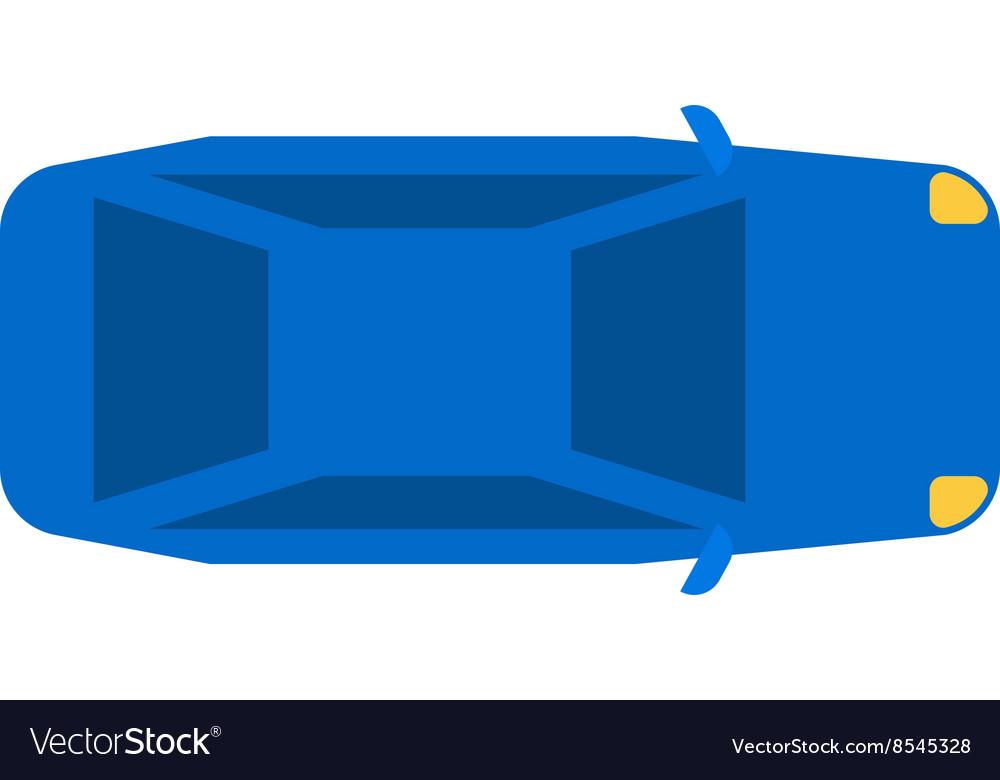 Generic blue car top view vehicle flat automobile vector image