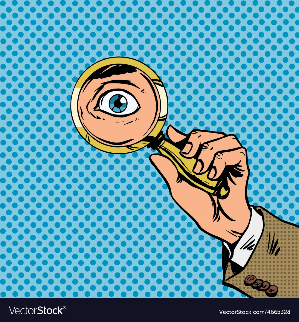 Look through a magnifying glass searching eyes pop