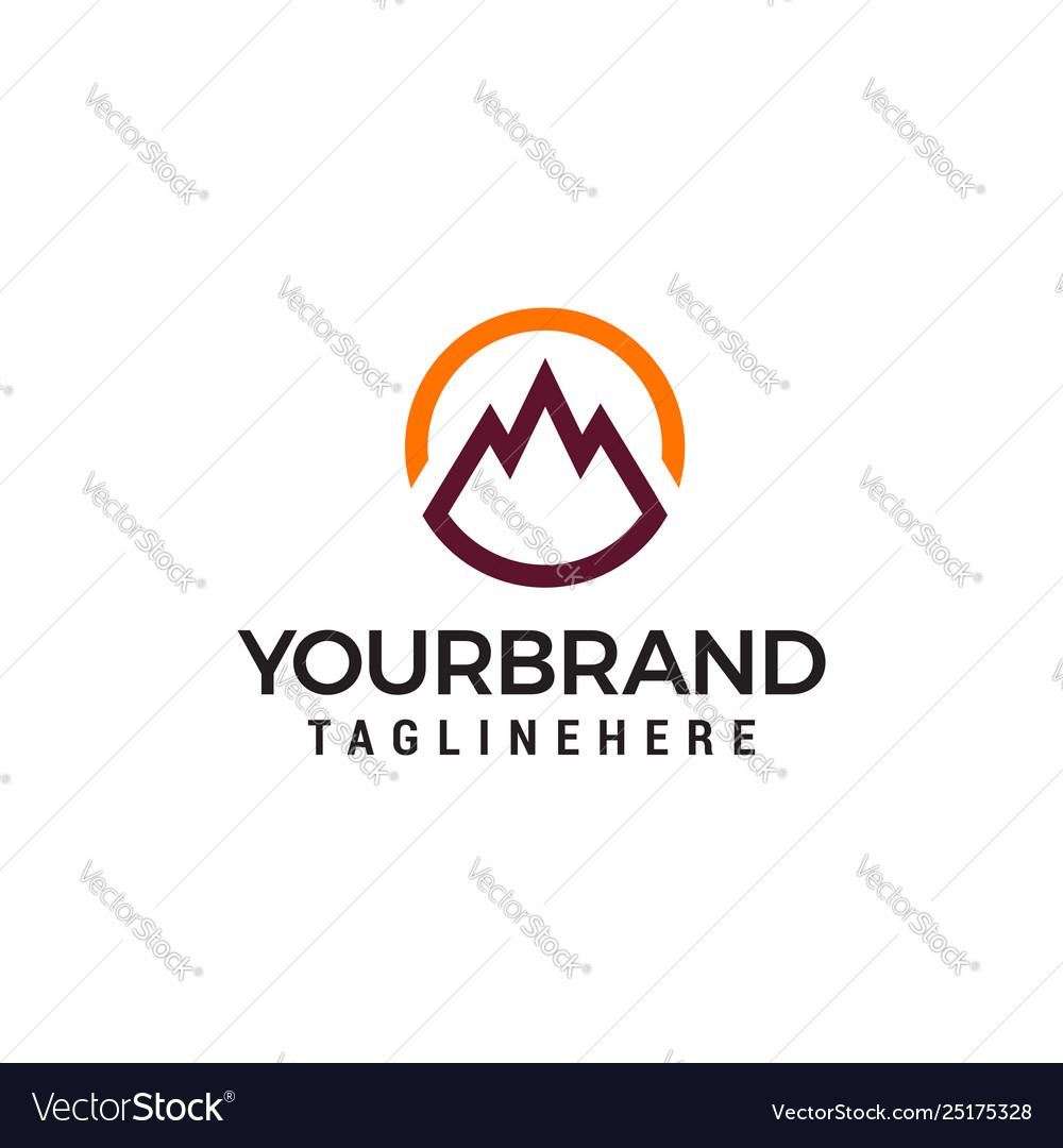 Mountain circle logo design concept template