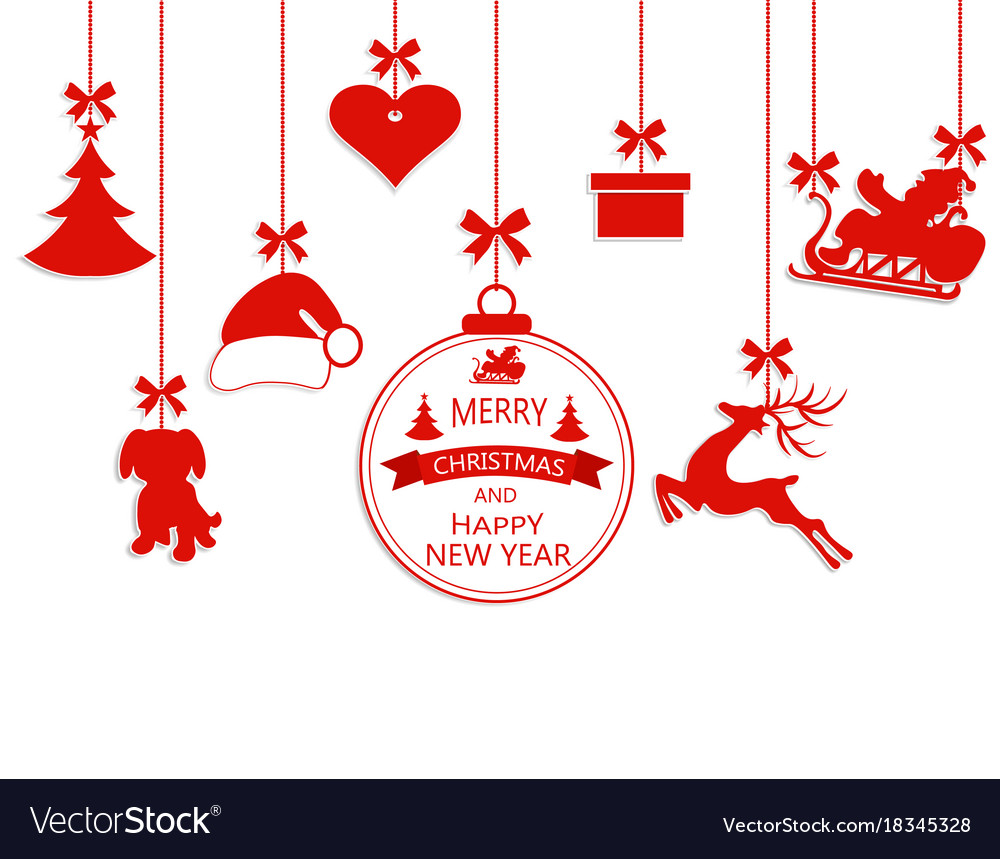 Christmas Ornament Vector.New Year Christmas Various Hanging Ornaments