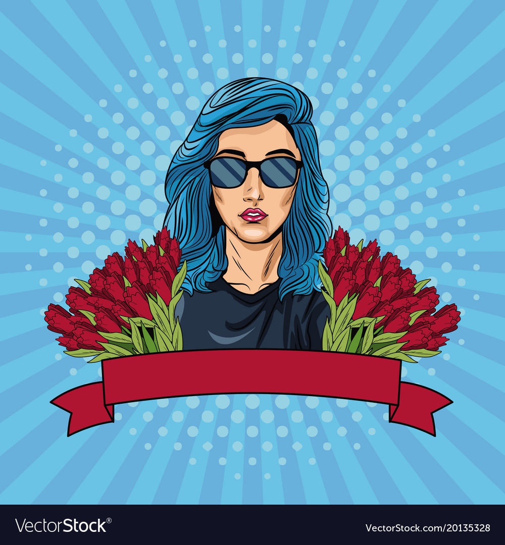 Woman pop art with ribbon banner and flowers