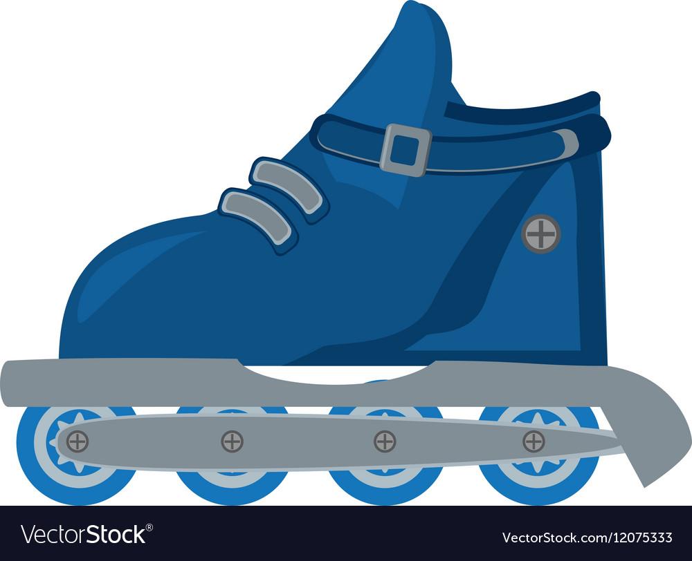 Blue roller skate hobby activity