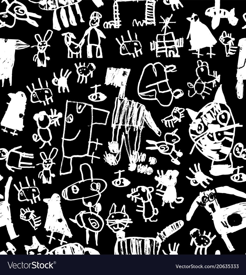Children doodles draw chalk black and white