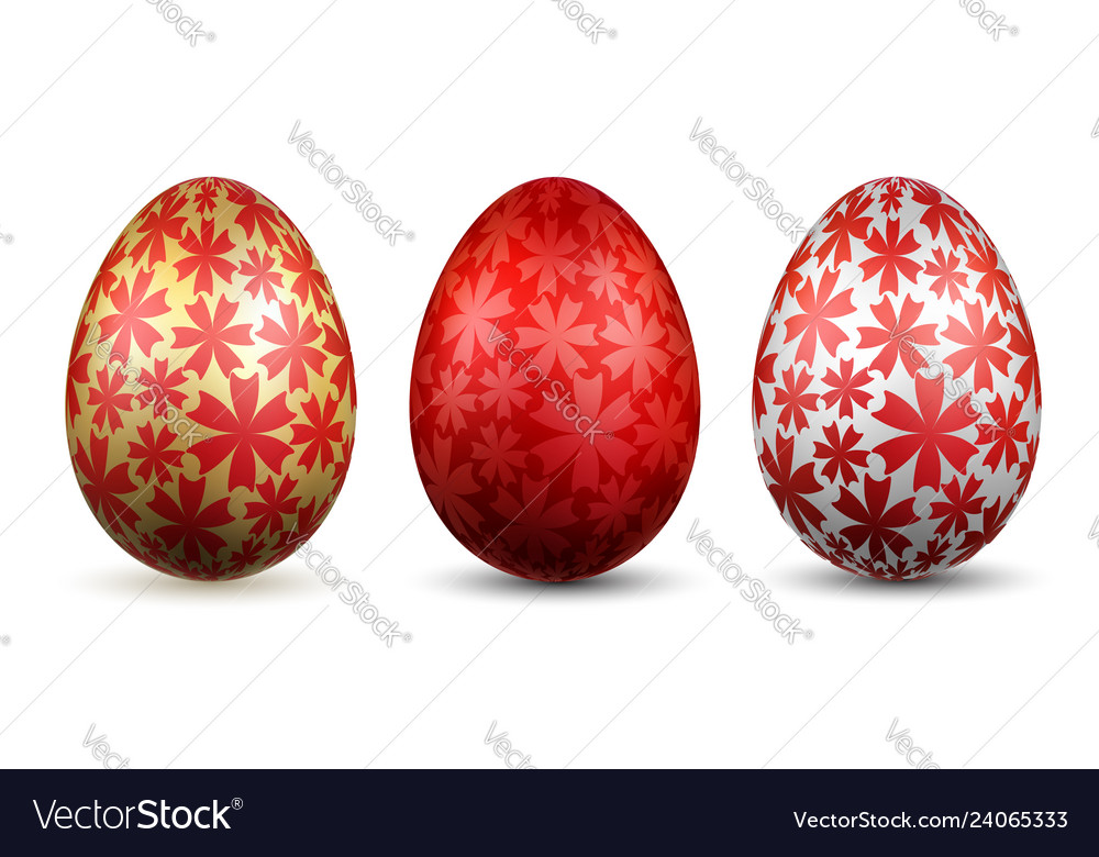 Easter egg 3d icon gold red eggs set isolated