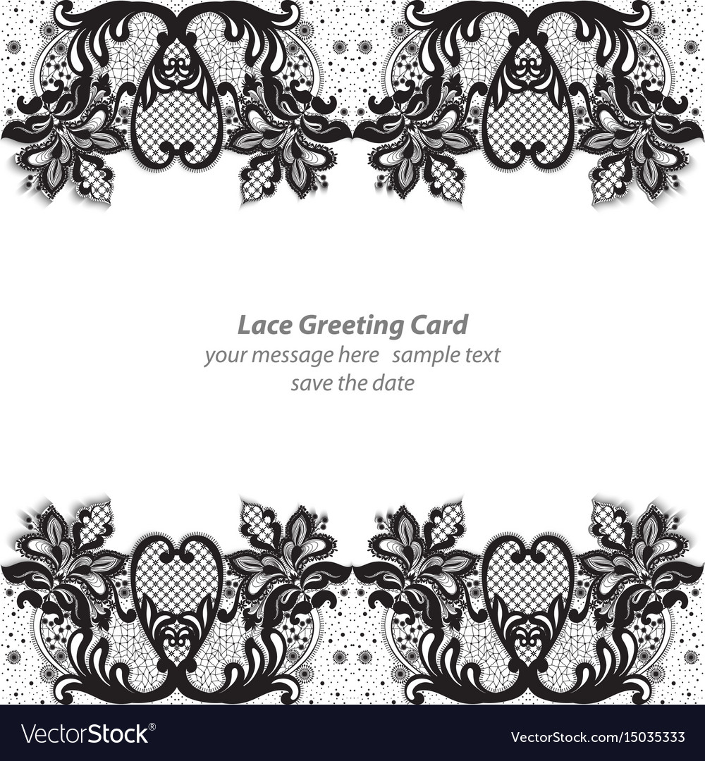Elegant lace greeting delicate card black and
