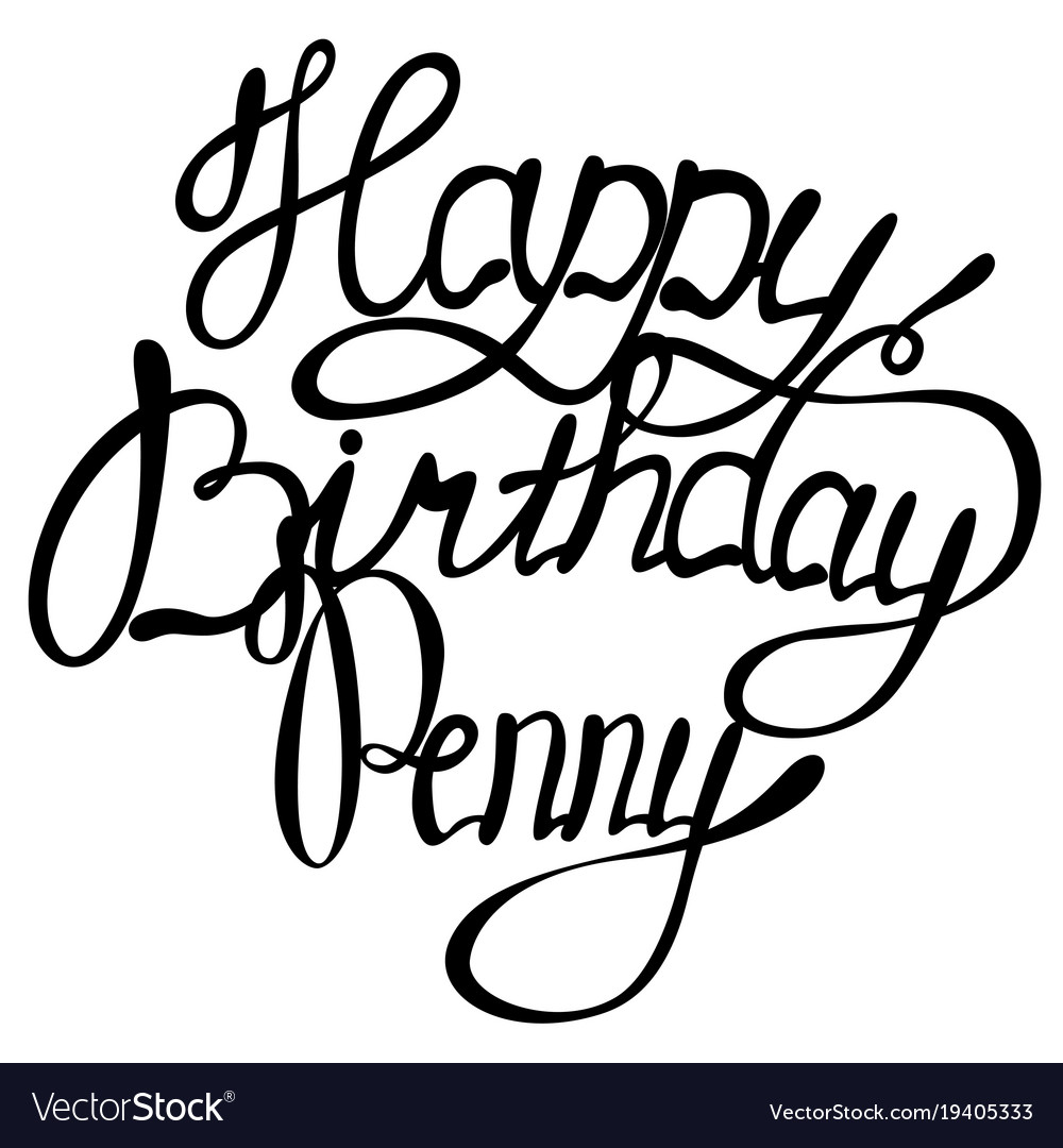 Happy birthday penny name lettering