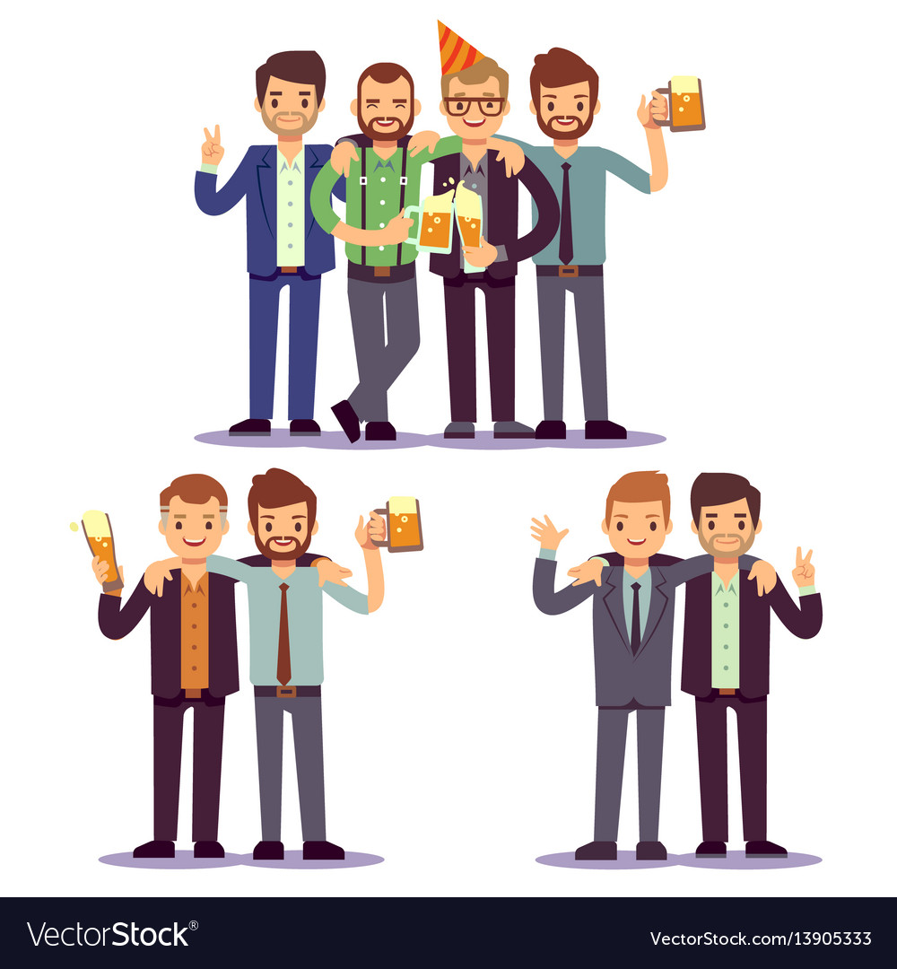 Happy friends business people at party vector image