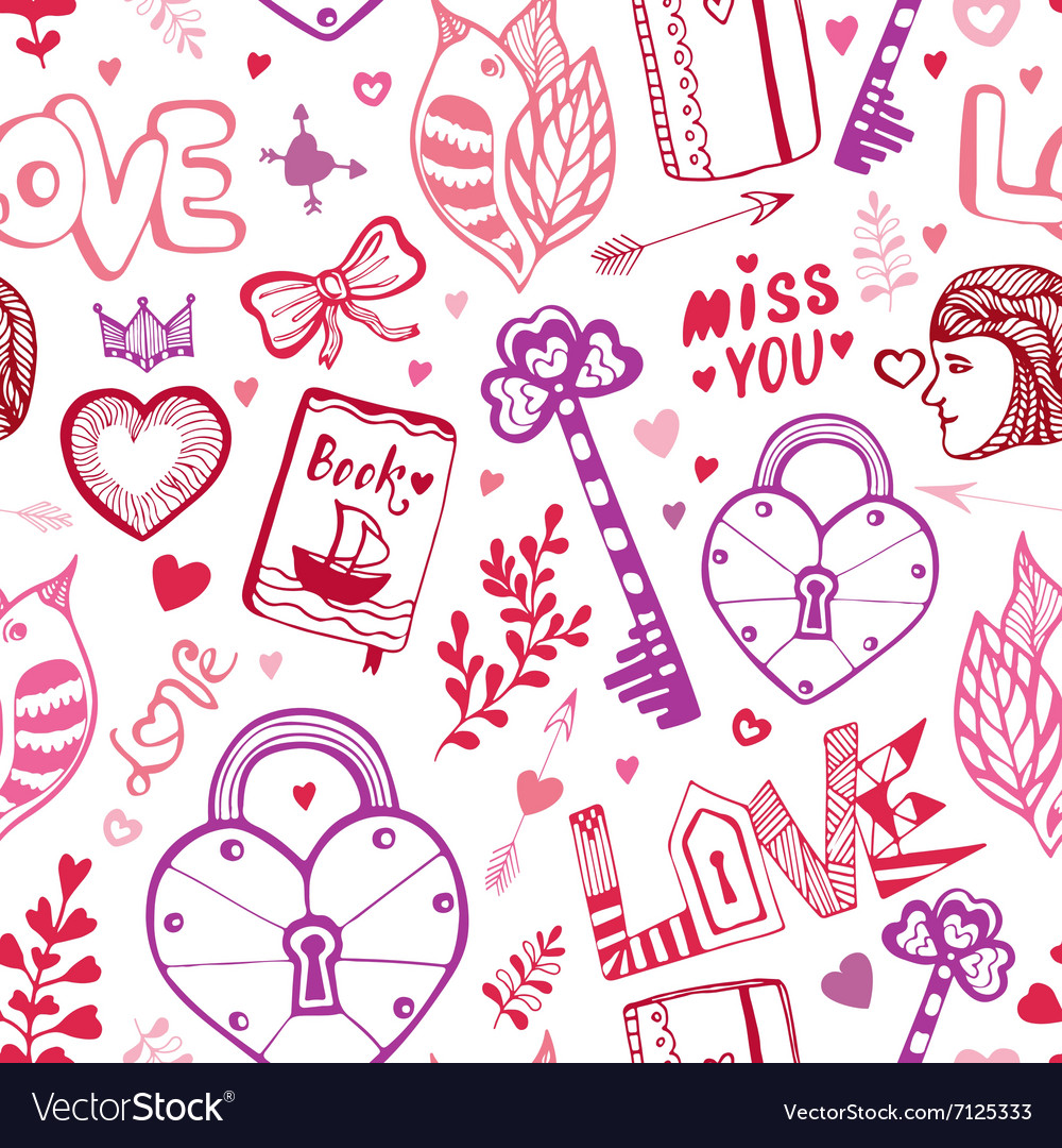Happy Valentines day Cute doodle pattern with