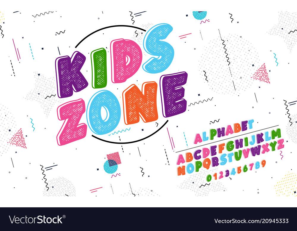 Latin alphabet kids zone font in cute cartoon 3d vector image