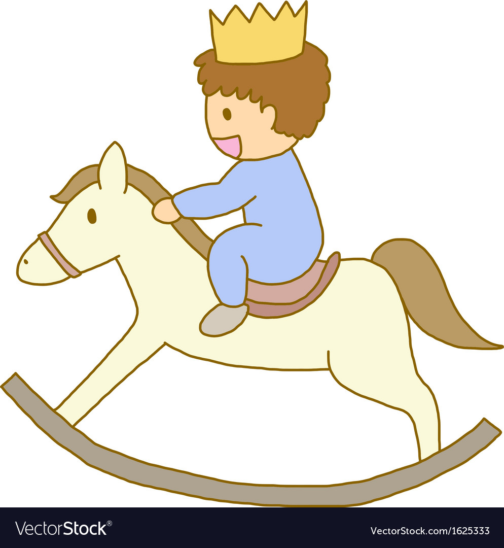Little prince riding on wooden rocking horse