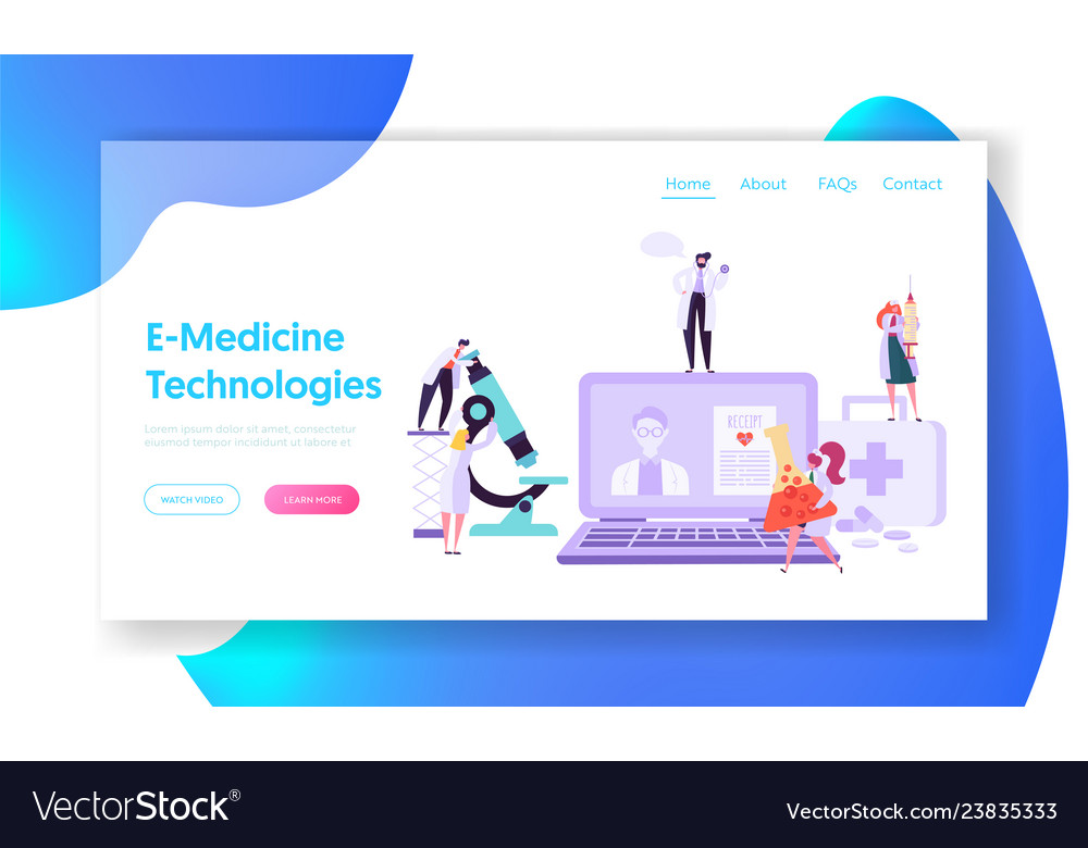 Online healthcare technology concept landing page