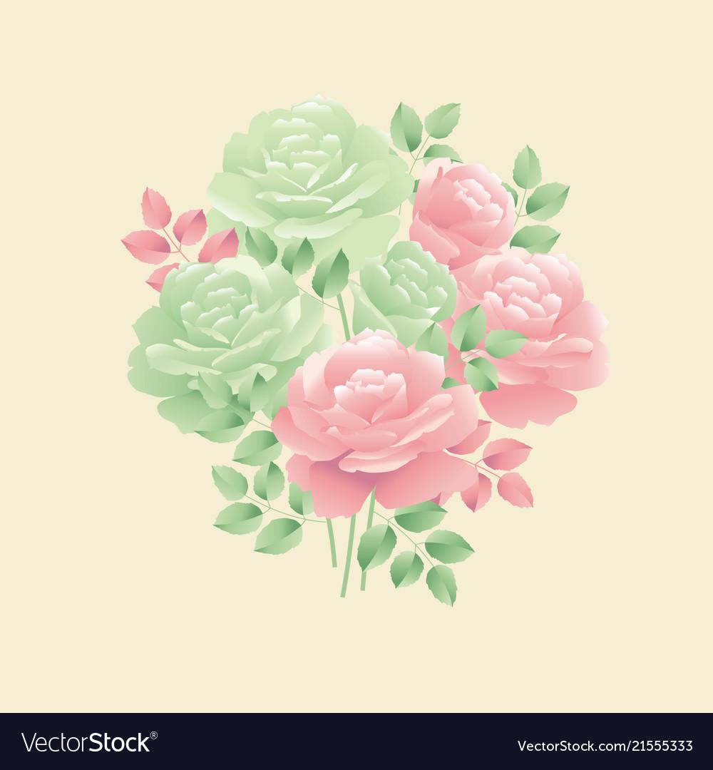 Pastel colors decorative tender rose flower motif