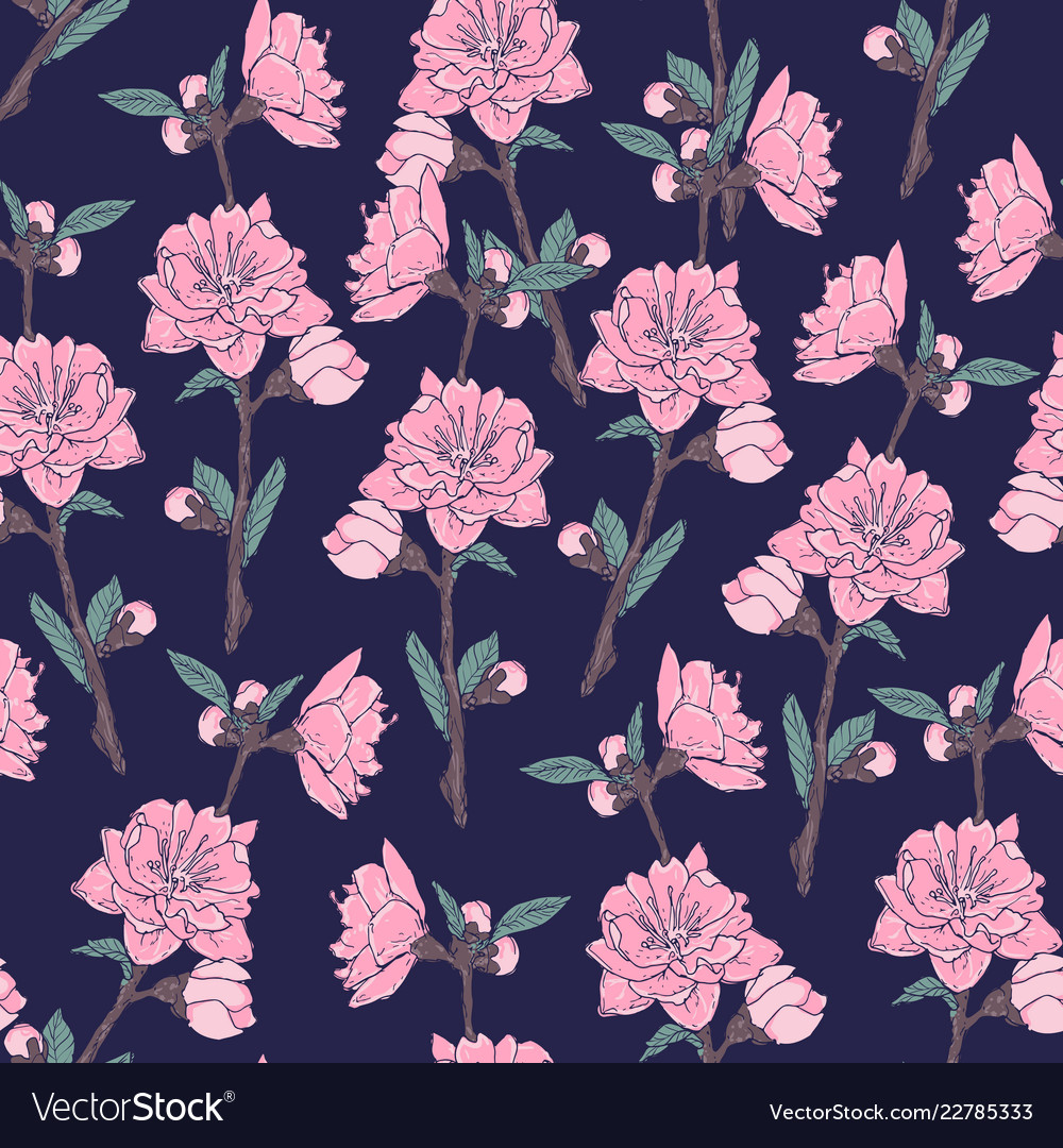 Romantic seamless pattern with gorgeous blooming