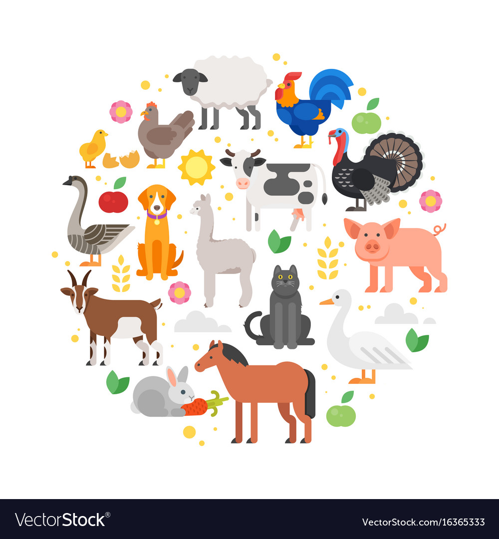 Round composition of farm animals icons