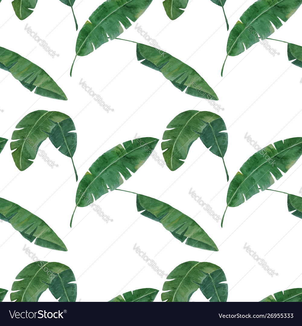 Seamless pattern with tropical banana leaves