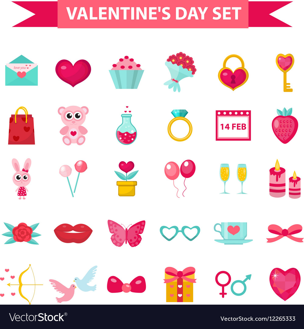 Valentines Day icon set flat style Love romance