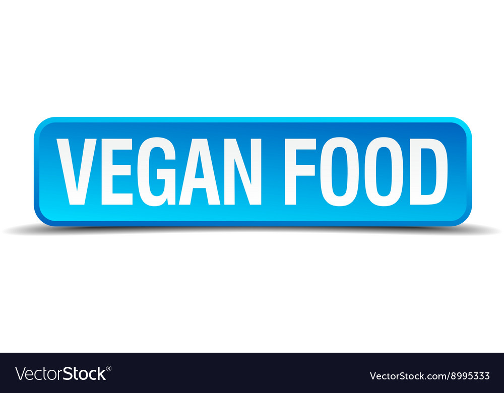 Vegan food blue 3d realistic square isolated