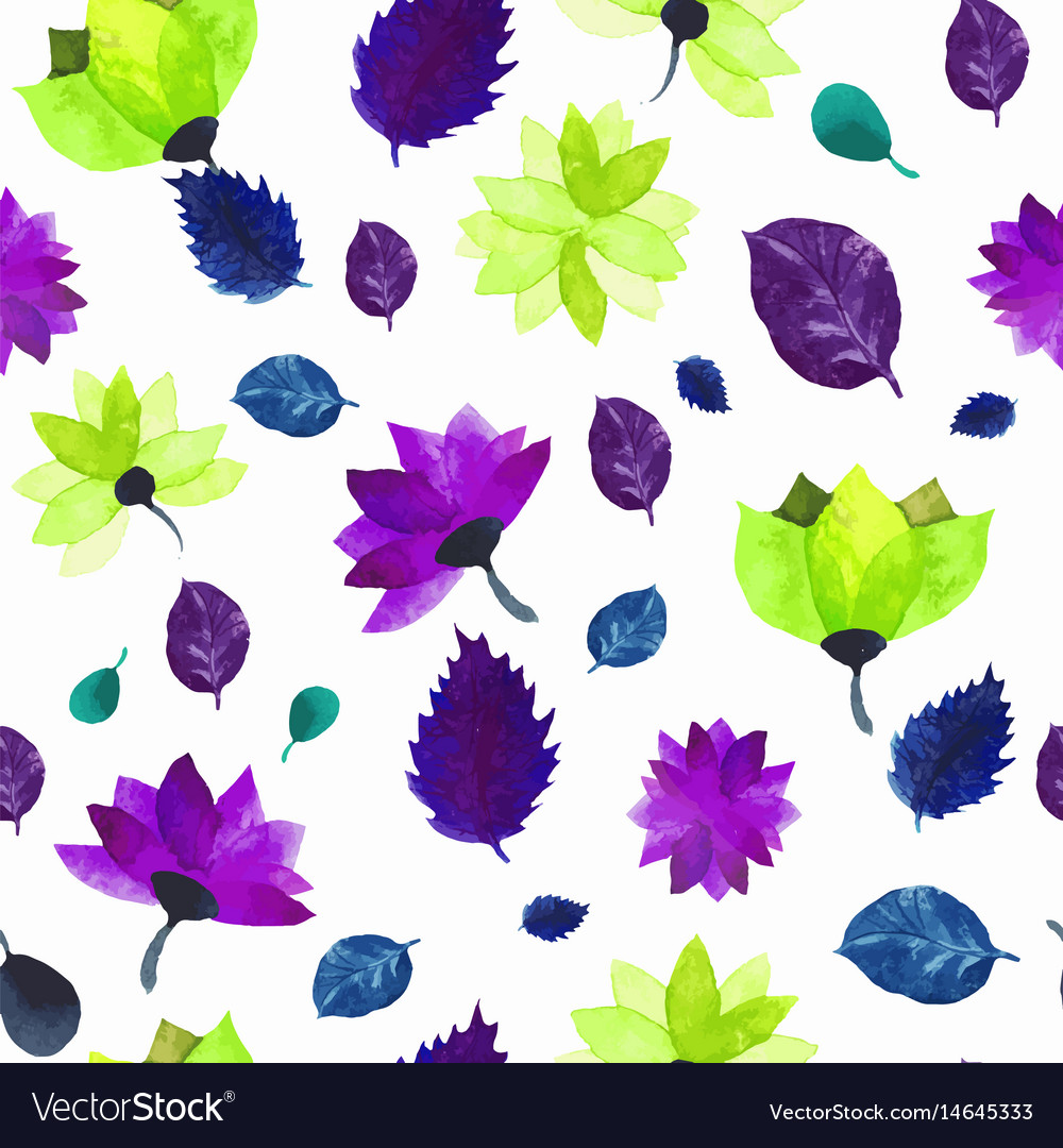 Watercolor seamless floral pattern flowers