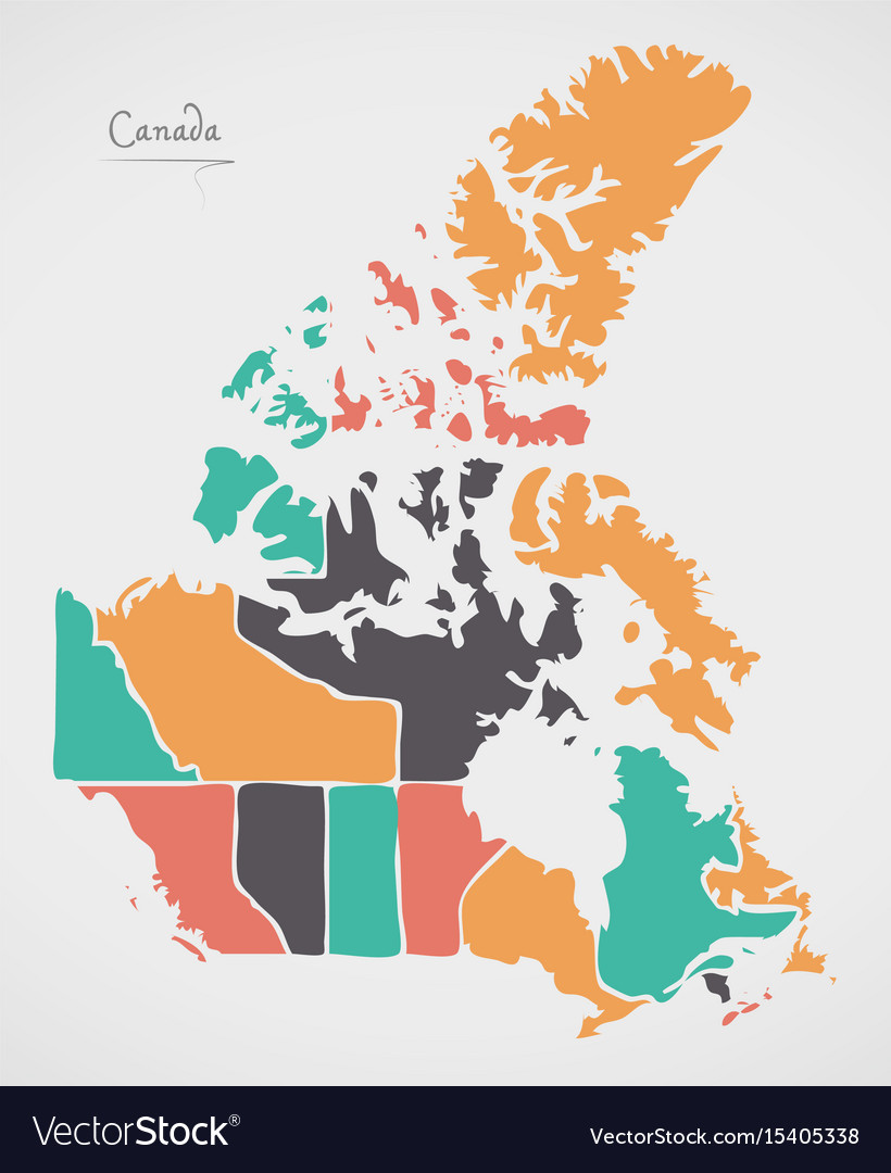 Map Of Canada And The States.Canada Map With States And Modern Round Shapes