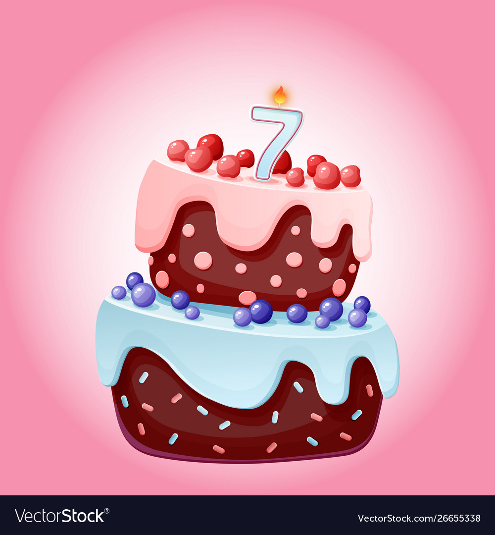 Superb Cute Cartoon 7 Year Birthday Festive Cake With Vector Image Funny Birthday Cards Online Alyptdamsfinfo