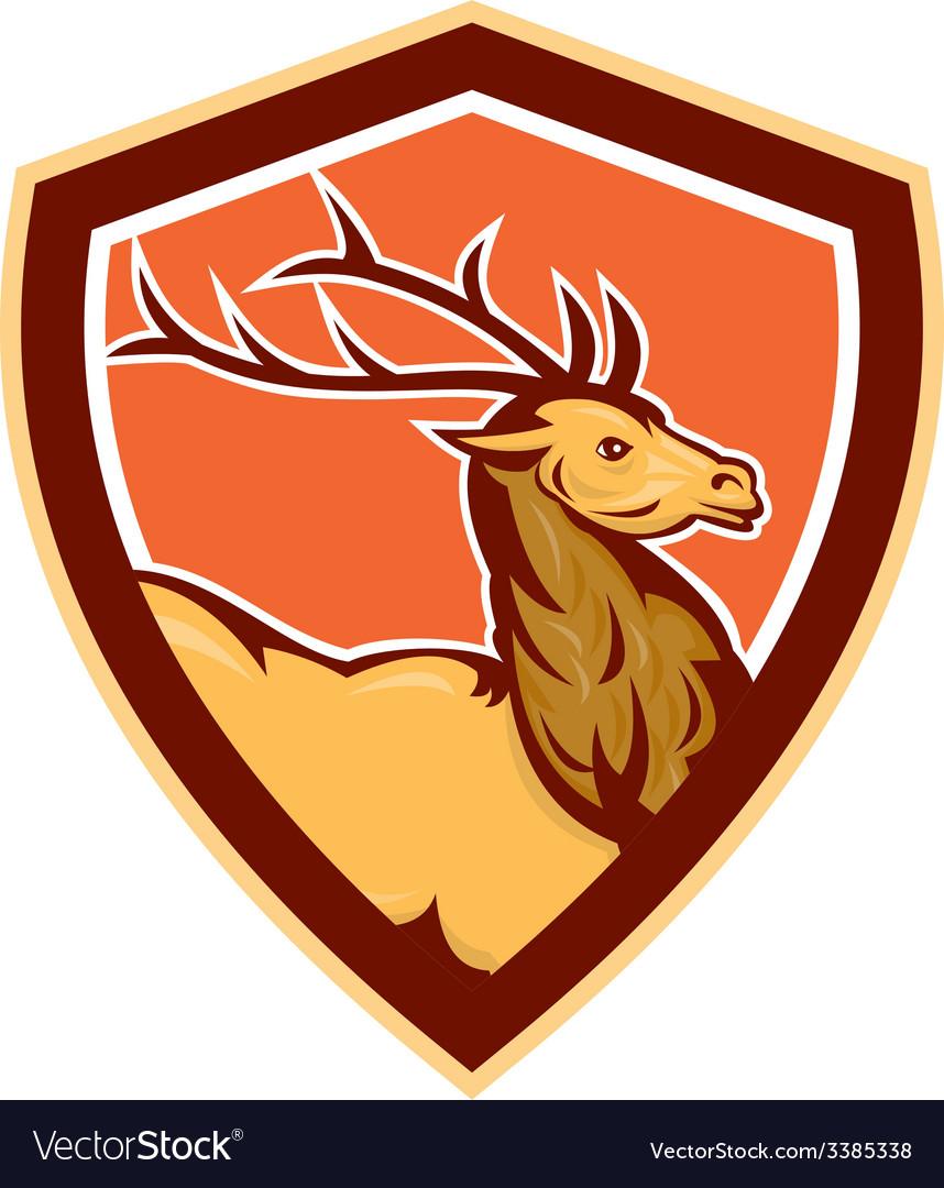 Deer Stag Buck Head Shield Retro