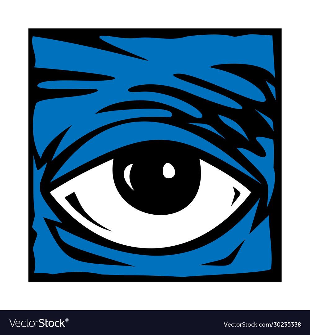 Eye blue icon symbol logo