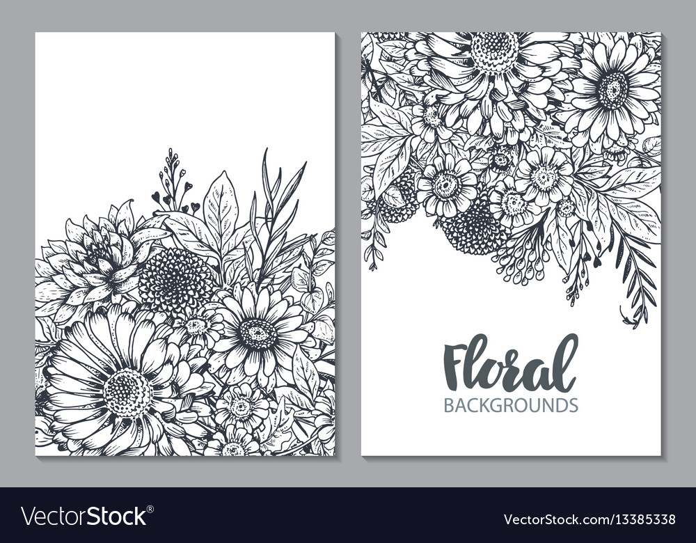 Floral backgrounds with hand drawn flowers and