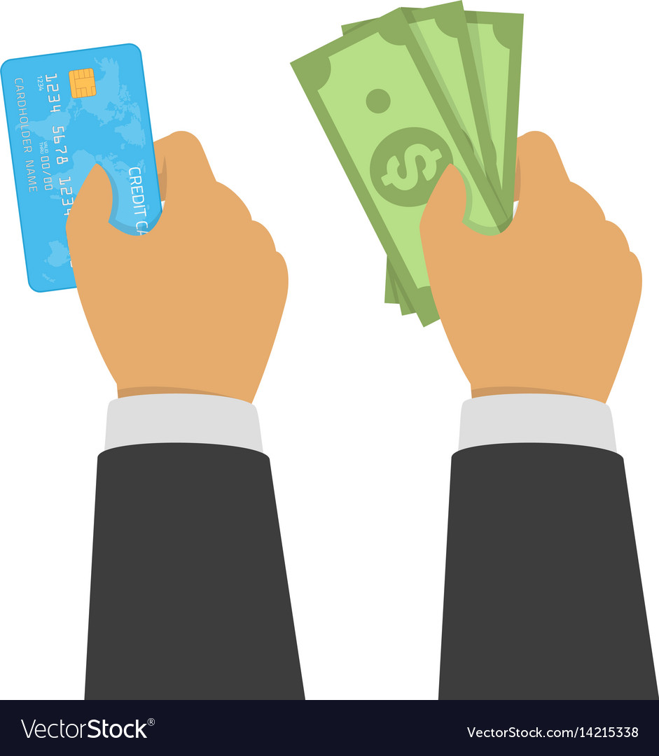 Hands holding credit card and money bills