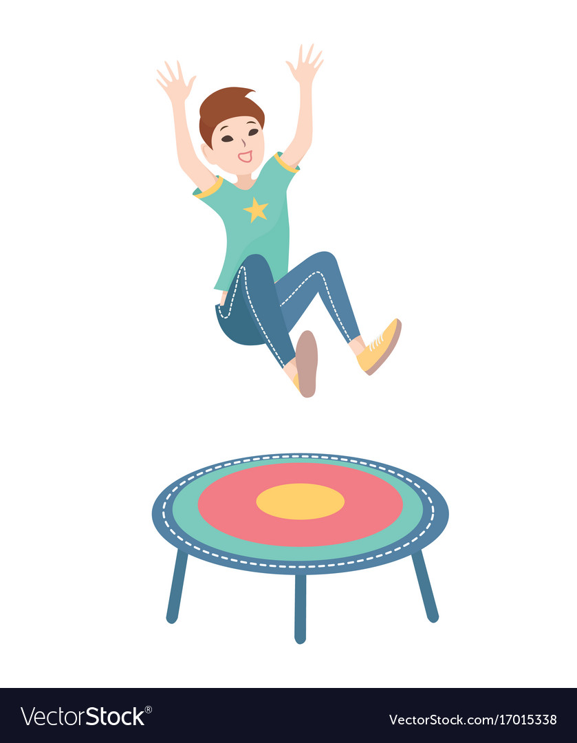 Happy boy jumping on a trampoline colorful