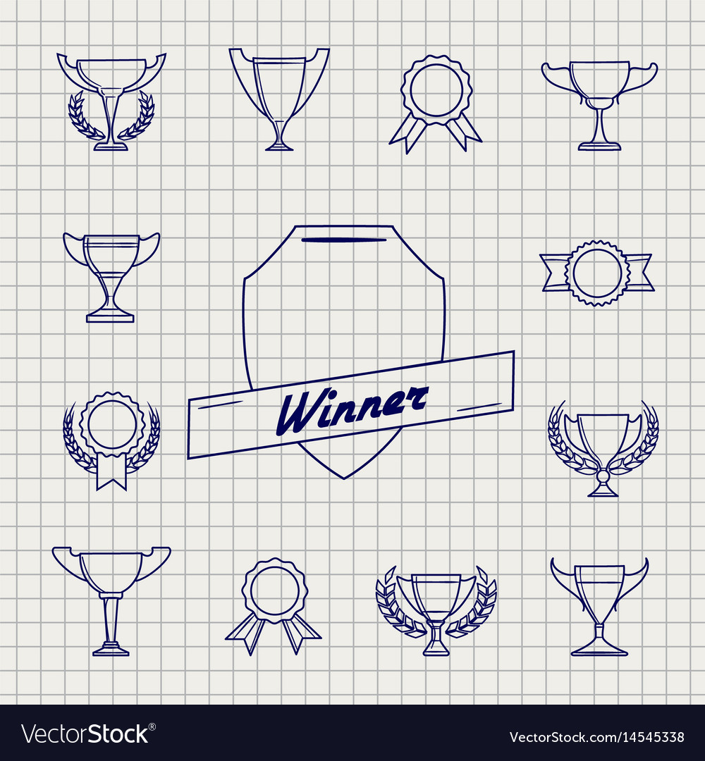 Linear awards icons on notebook page vector image