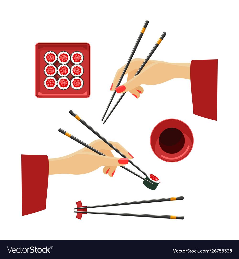 Oriental hands with chopsticks