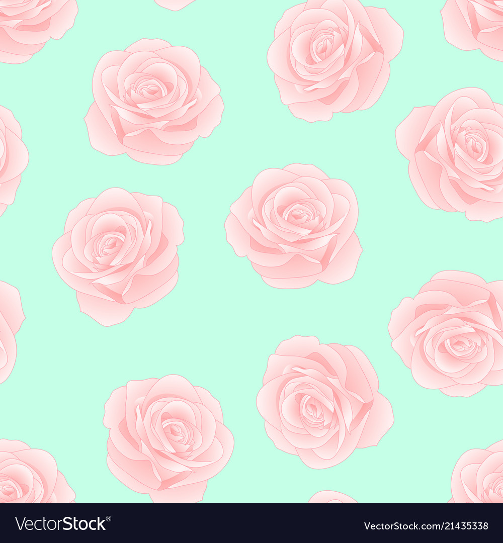 Pink Rose On Green Mint Background Royalty Free Vector Image