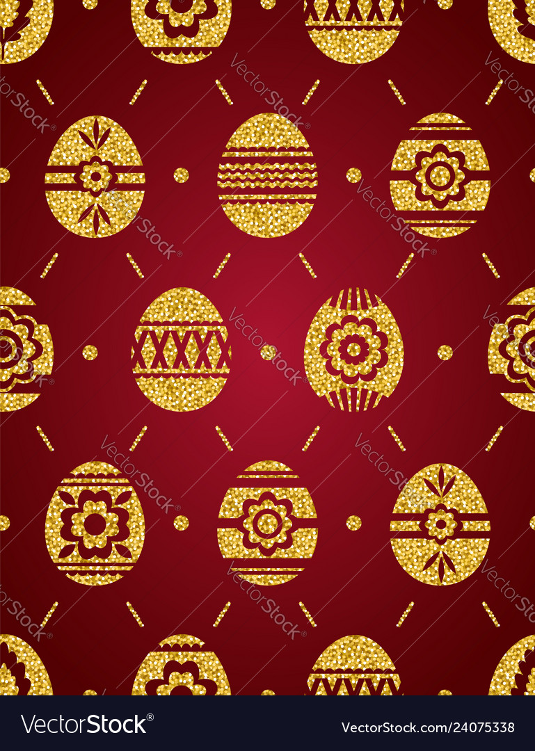 Seamless pattern of golden easter eggs isolated