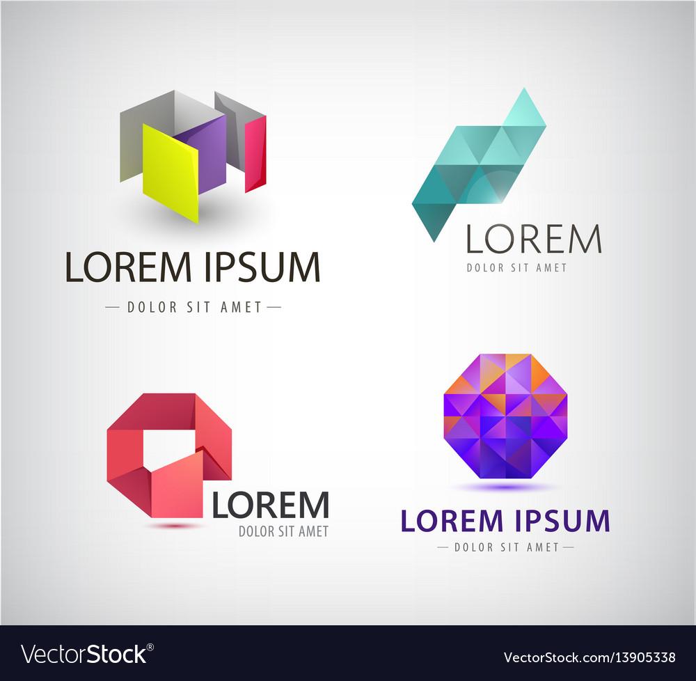 Set of abstract colorful ribbon logos