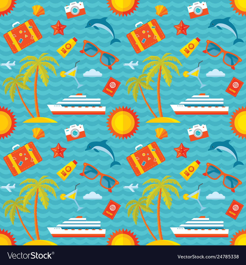 Summer vacation background seamless pattern