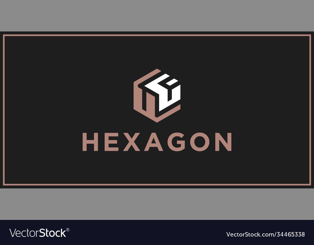 Uf hexagon logo design inspiration