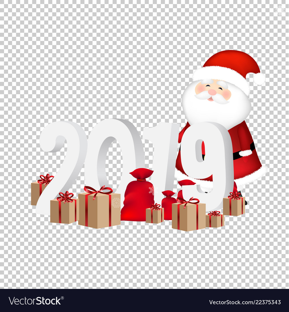 2019 new year text transparent background vector image