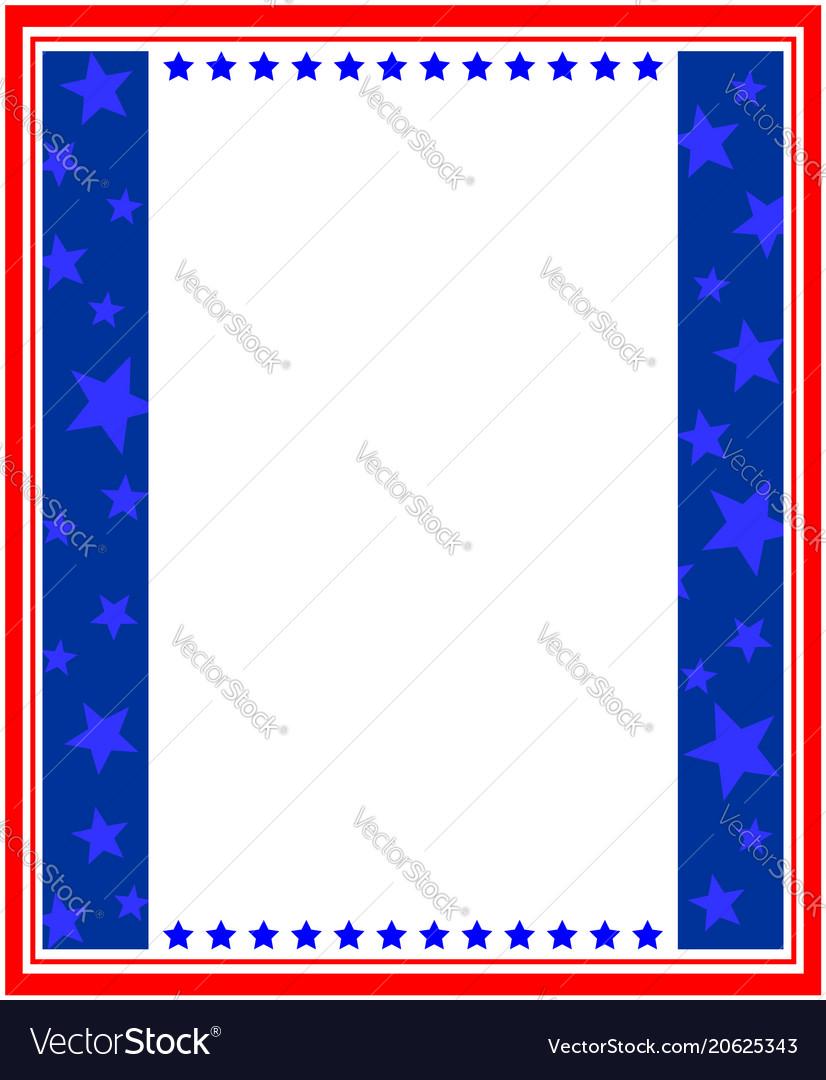 Abstract American Flag Patriotic Symbols Frame Vector Image