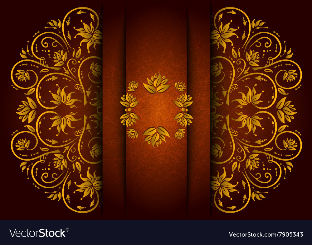 Abstract floral ornament with banner