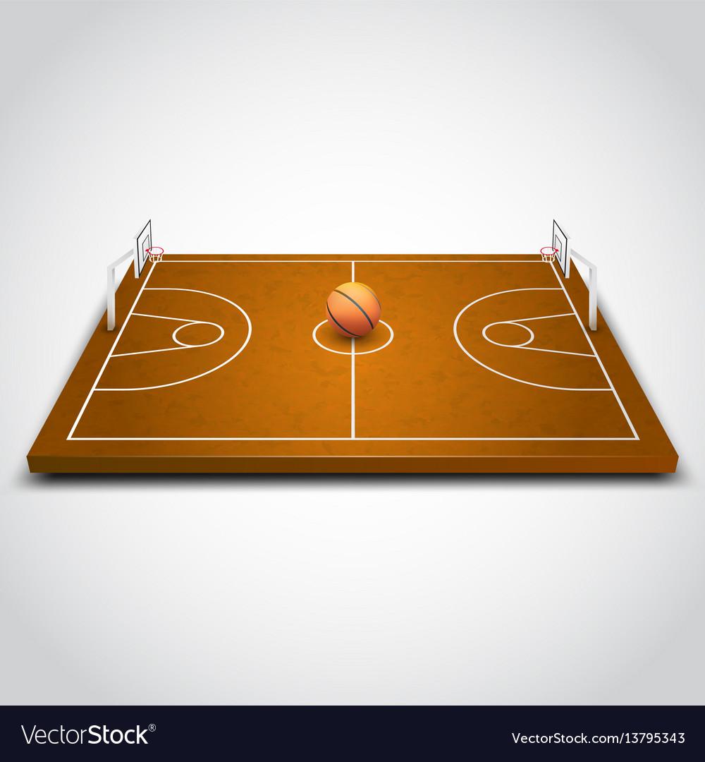 Basketball 3d field vector image
